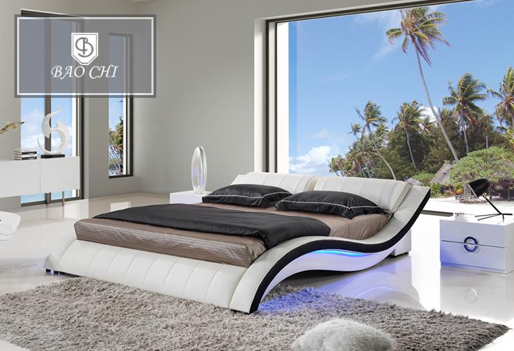 Good Quality Bedroom Furniture Modern Wave Shape Leather Bed Buy Wave Shape Leather Bed White Leather Bed Modern Wave Bed Product On Alibaba Com