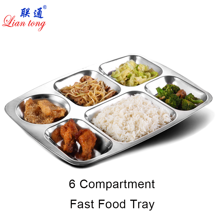 School Canteen 6 compartment divided stainless steel mess lunch dinner snack plate fast food tray