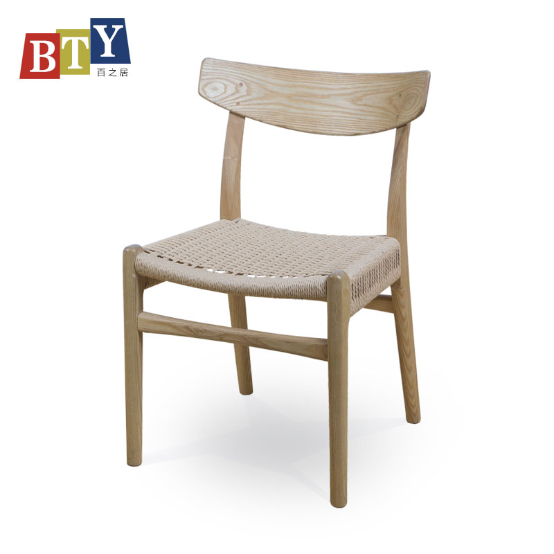 Solid wood frame rope knitting seat CH23 writing chair