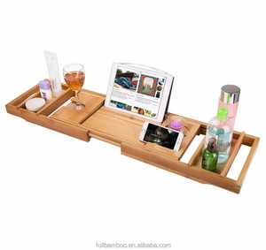 hot Bamboo Bathtub Caddy with Adjustable Book Holder Bamboo Iphone Holder Bath Accessories
