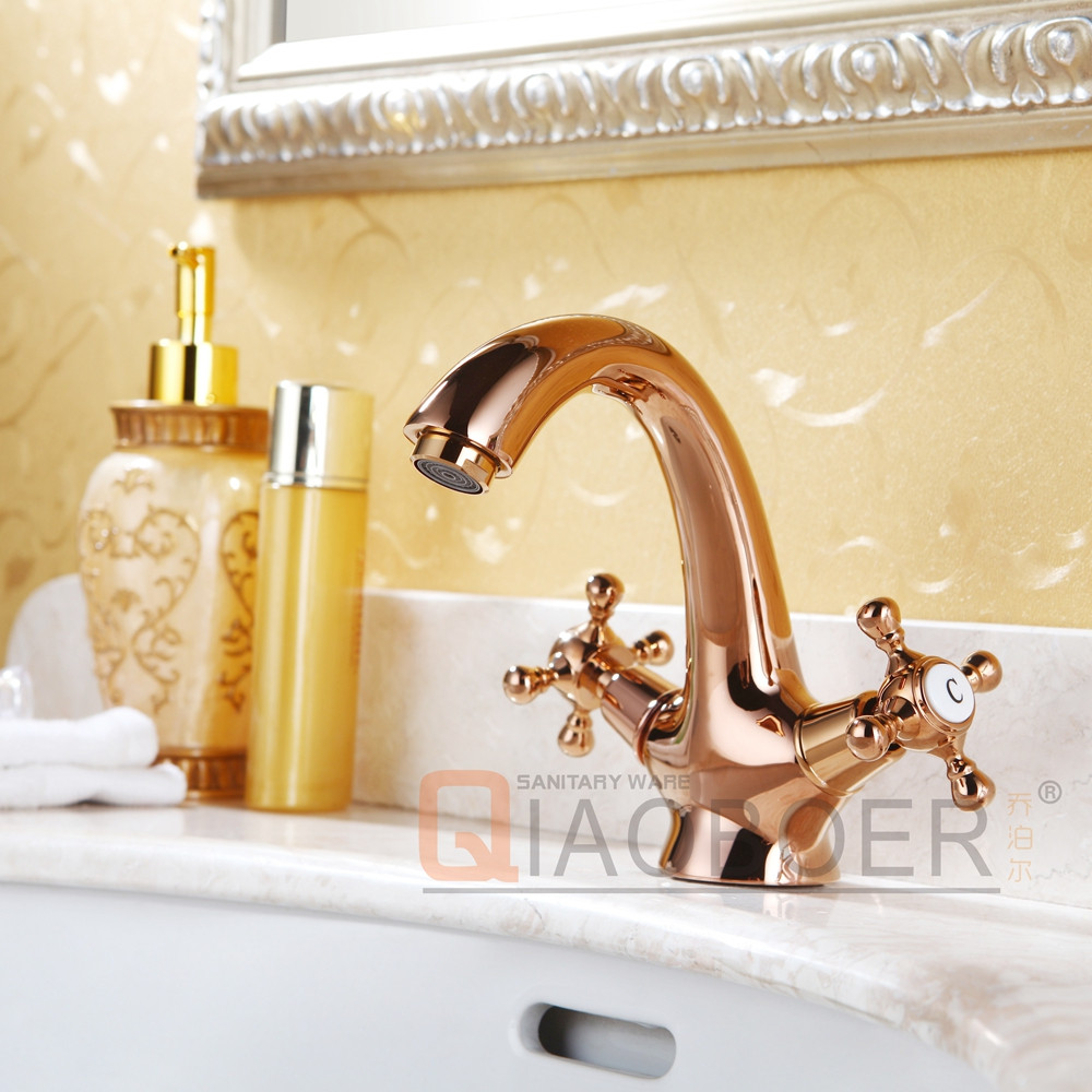 China sanitary ware manufacturers gold finish double handle modern faucets for bathroom sinks