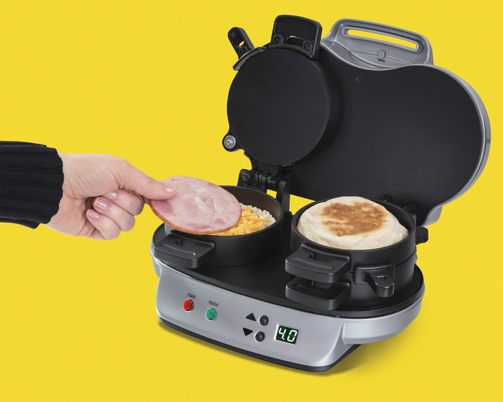 Non Stick Kitchen Appliances Automatic Electric Dual Breakfast Sandwich Makers With Digital
