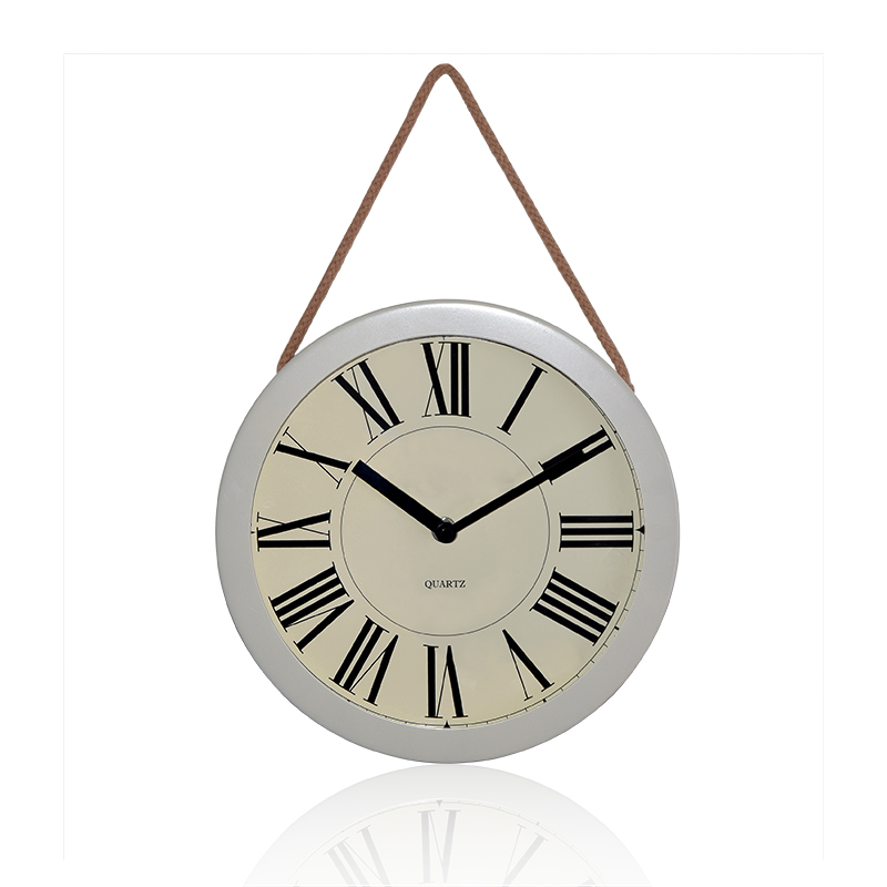 Promotional Metal Round Wall Hanging Clock for Wholesale,Tesco Silver Fob Wall Clock