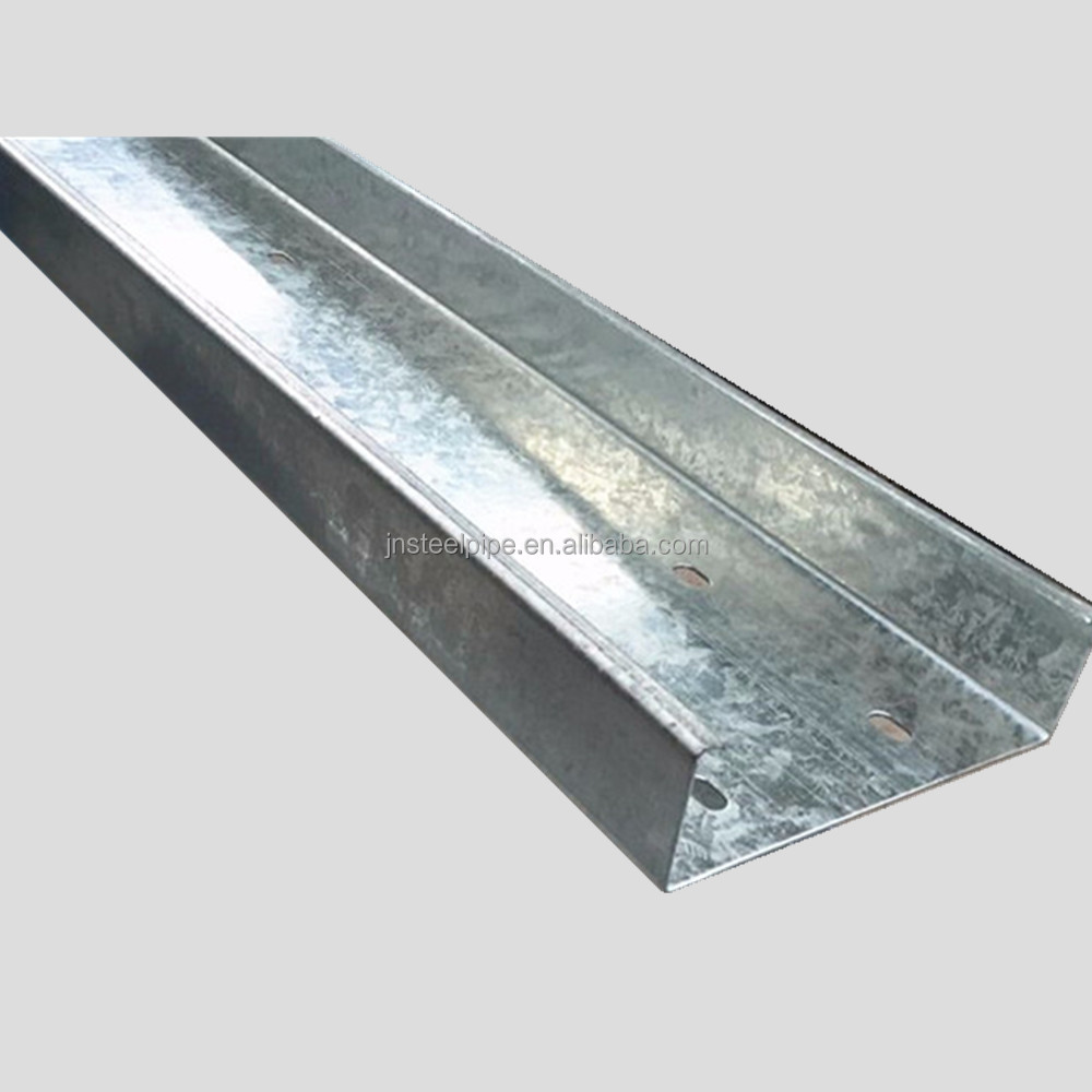 c channel size chart weight per foot hot dip galvanized c/z purlin with perforated holes