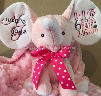2017 Hot Sale Plush Stuffed Animal Monogrammed Elephant Birth