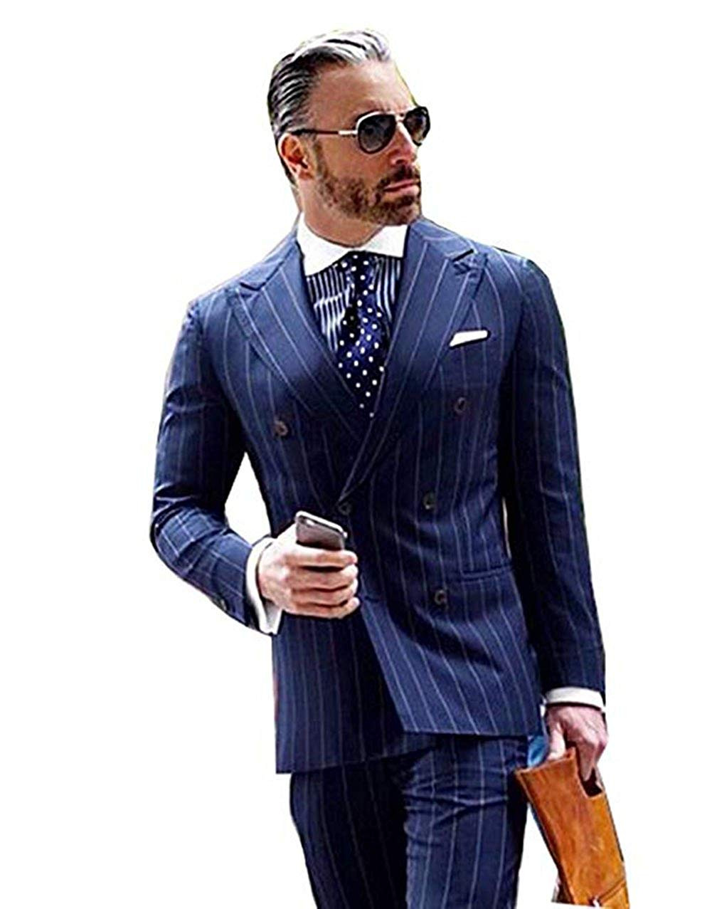 d04f9062a6 Get Quotations · Navy Blue Stripes Men's Suits 2 Piece Suits Double  Breasted Suits Slim Fit Groom Tuxedos Prom