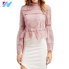 wholesale women latest design blouse ladies fashion long sleeve casual hollow out sexy lace blouse