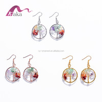 Amazon wholesale round tree of life shaped round metal earring with natural stones