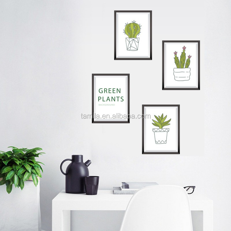 Removable Eco-friendly PVC TV background for green plants wall stickers