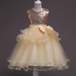 Elegant girl Gown Tulle shiny sequined baby lace wedding dress for kids