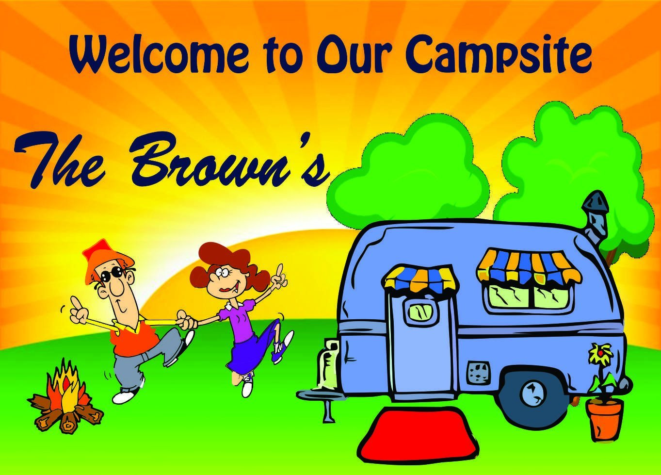 The Ultimate Camping Sign -Welcome to Our Campsite Sign featuring Dancing Couple Camper Sign Add Name (8x12)