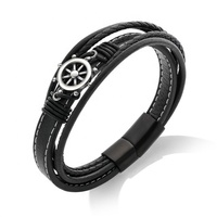 Sailor Jewelry Fashion Men Leather Bracelet 316L Steel Magnet Rudder Bracelet