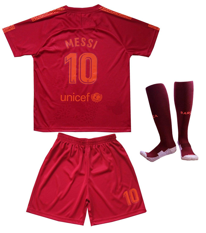 594d6e45027 Get Quotations · Da Games Youth Sportswear Barcelona Messi 10 Kids Third Soccer  Jersey Shorts Football Socks Set