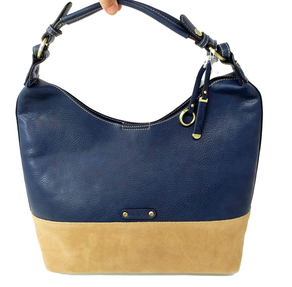 Get Quotations Simply Noelle 5th Avenue Suede And Vegan Faux Leather Large Hobo Handbag In Navy