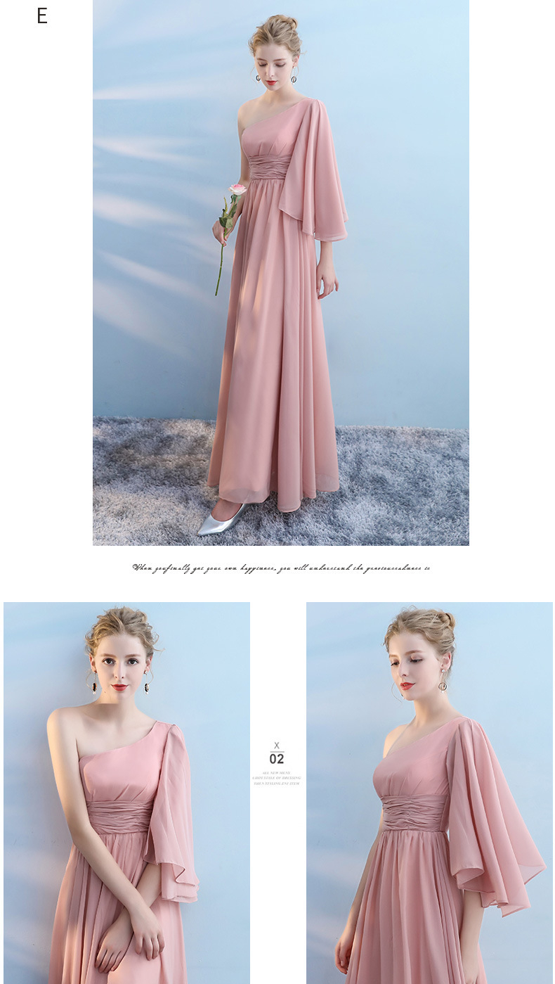 Chinese Supplier Six Types Chiffon Off Shoulder Bridesmaid Dress Blue Pink
