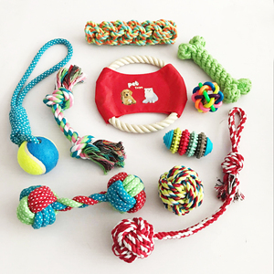Hot sale packs knots chew proof rope ball dog toy plush dog chew toy set