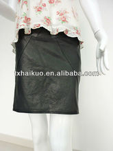 ladies sheep leather tight package buttocks short skirt