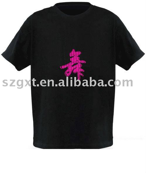 Christmas EL panel new style party sound actived flashing man EL t-shirt with wire 2AAA battery el t-shirt