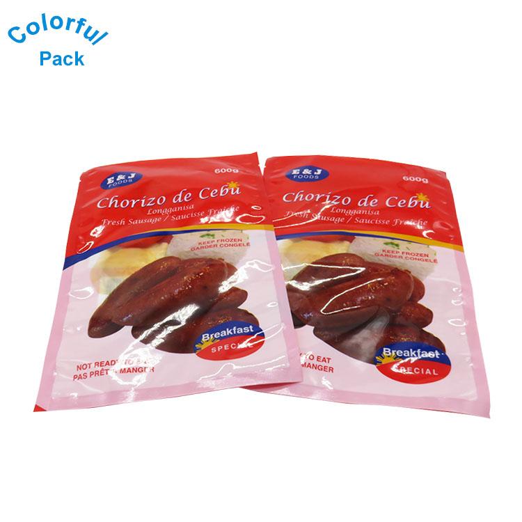 Clear plastic mylar food packaging bag custom small zipper nylon vacuum  food bag