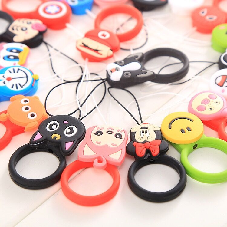 Hot new products mobile security lanyard cartoon finger strap silicone doll