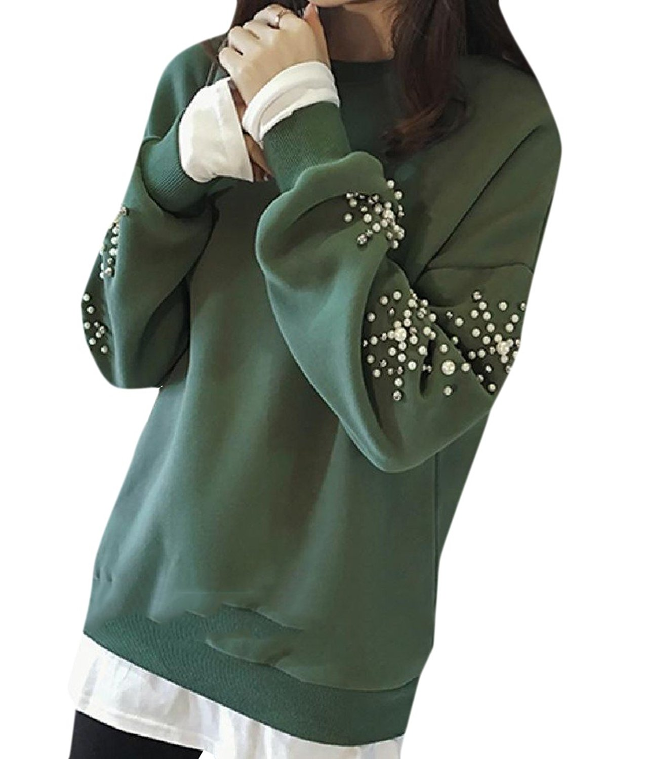FreelyWomen Freely Women's Crew-Neck Plus-Size Solid-Colored Bead Tops Outwear