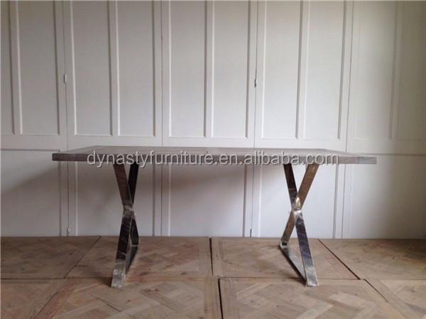 Stainless Steel Legs Wooden Dining Table Vintage Industrial Restaurant  Furniture Part 52