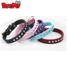 Free shipping ! wholesale pet products single row studs real leather Dog collar