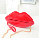 Red lip shape cosmetic bag shinny PVC material with shoulder strap makeup pouch bags