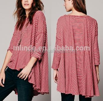 Fashionable Women Long Sleeve T Shirt Design Organic Cotton Shirts With Stripes Printing