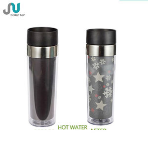plastic magic heat sensitive color changing mug,travel bottle