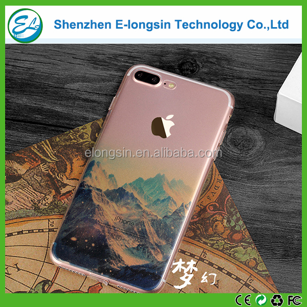 Elongsin high quality soft tpu material landscape printed tpu phone case for iphone 7plus