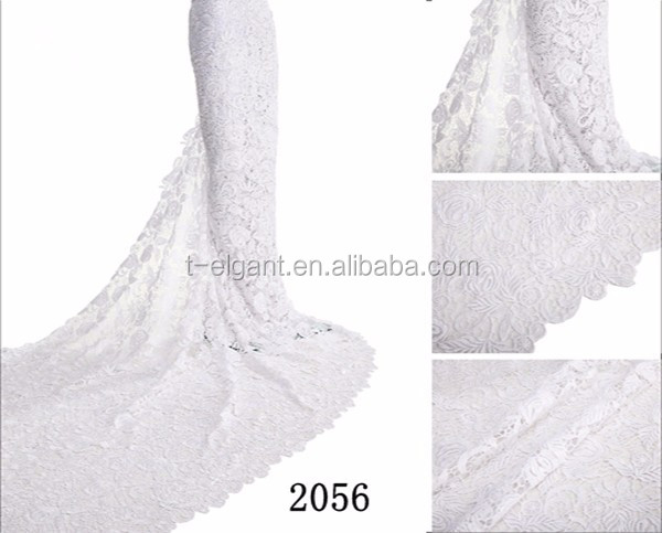 Factories White african lace fabrics wholesale cord lace fabric embroidery guipure lace fabric for wedding dress
