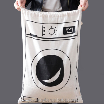 Drawstring Dirty Clothes Large Laundry Bags; Printed Cotton Dirty Clothes Large Laundry Bag