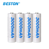 4pcs AA3.0AH battery BESTON High Capacity Ni-mh AA3000 Rechargeable Battery For Torch