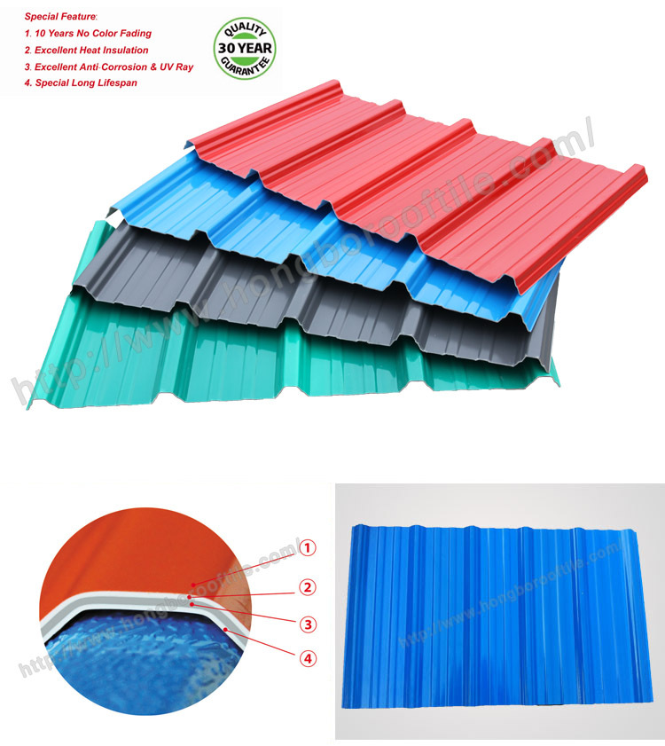 CE Certificated 4 Layer Weatherproof ASA/PVC Corrugated Plastic Roofing  Sheets