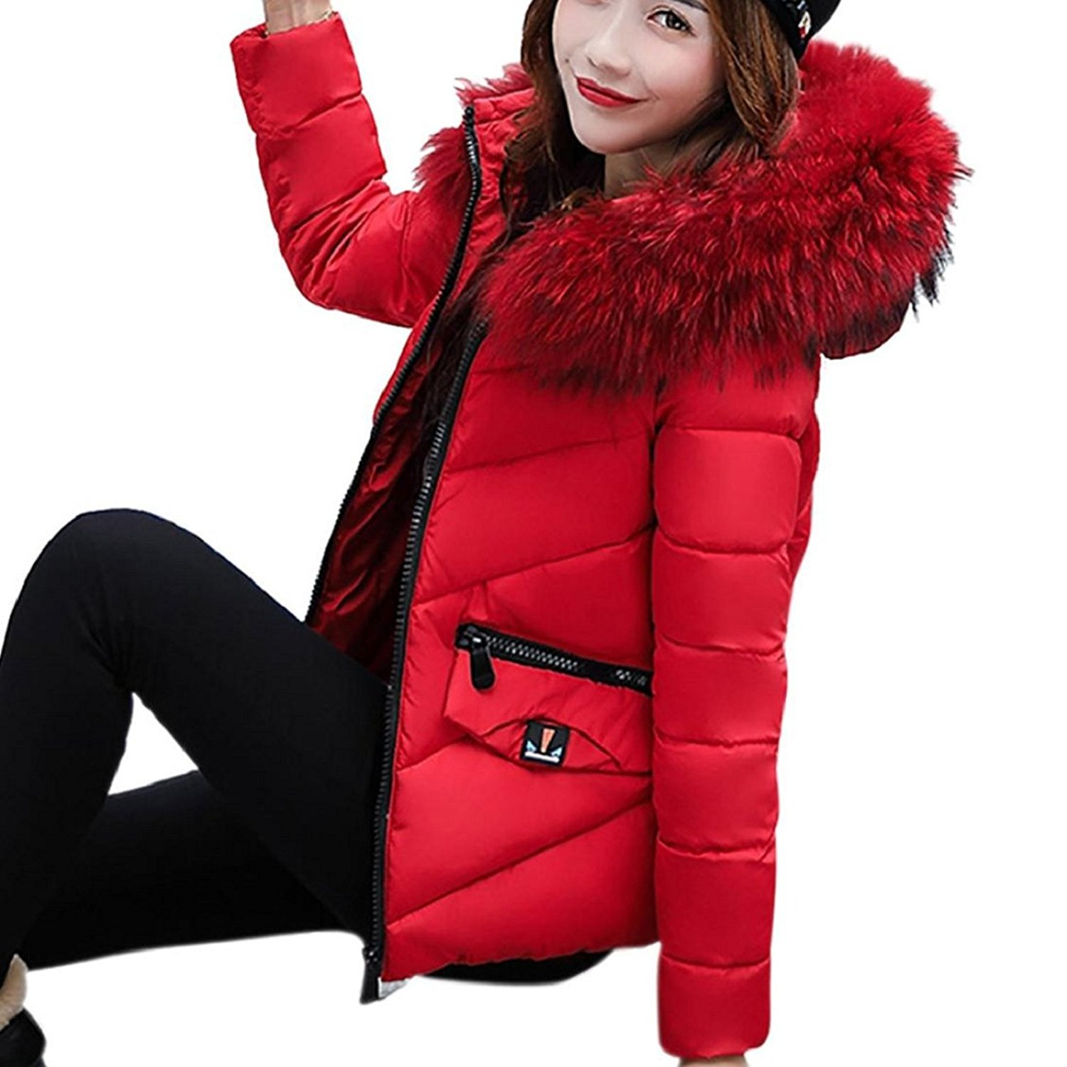 Vovomay Winter Warm Women Patchwork Casual Coat Thicker Slim Down Lammy Overcoat