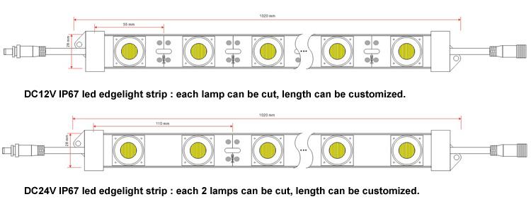 High power 12v smd3030 28.8w/m edge lit aluminium led rigid strip for double side light box