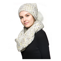 Wholesale Fashion Winter Girls Ladies Soft Cable Knitted 15% Wool Blend Outdoor Pom Hat And Infinity Scarf Set For Women