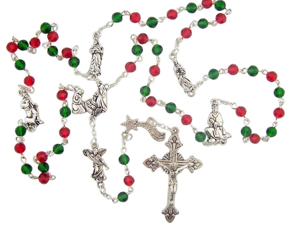 Green and Red Prayer Beads with Holy Family Nativity Center Christmas Rosary