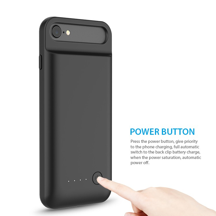 For iPhone 7 Battery Case 3100mAh MFi with Retractable TPU Top Easy To Install Uninstall