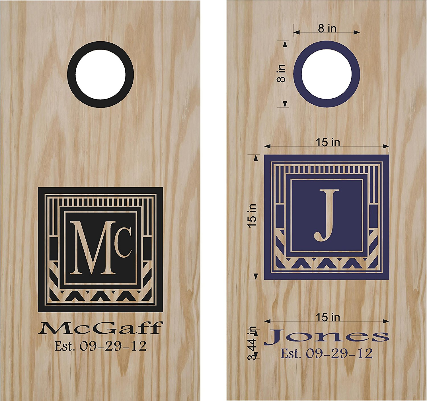Get quotations · monogram family name cornhole board decals stickers extra large 2 decals wall