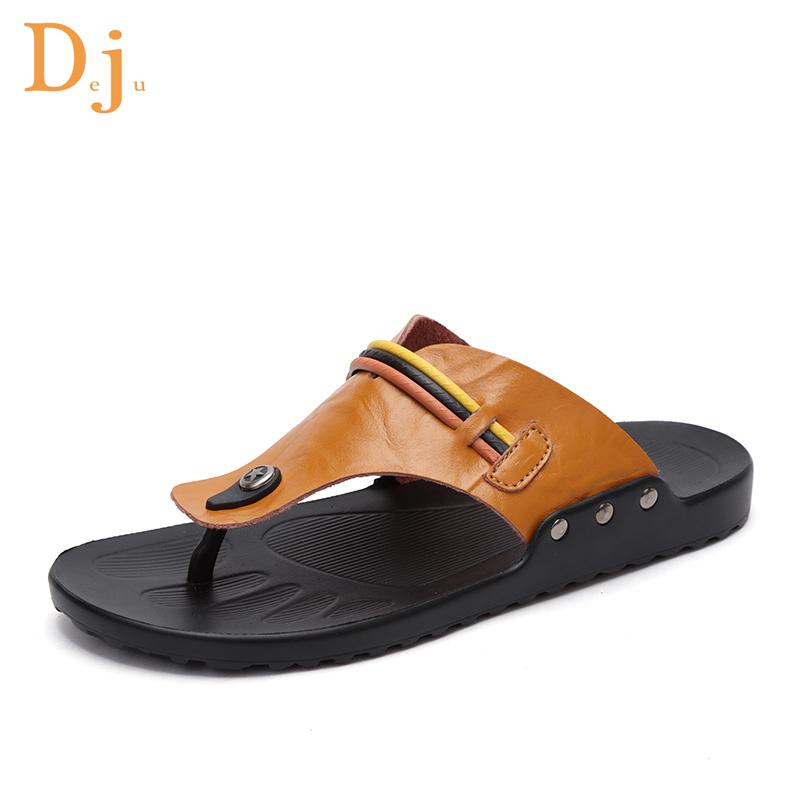 c8250067c99f 2018 Genuine Leather Men Flip Flops Sandals - Buy Flip Top Sandals ...