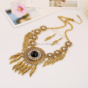 Wholesale cheap gold leaves necklace and earings belly dance jewelry sets SP6042