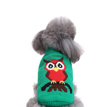 Pet Cute Owl Knit Turtleneck Sweater for Small Dogs & Cats Holiday Knitwear Cold Weather Outfit