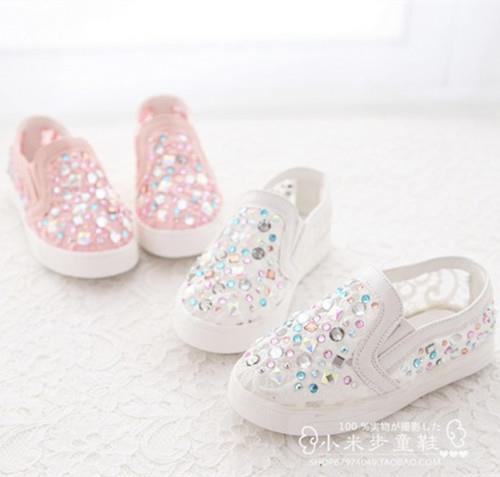 Free shipping 2016 spring and summer new Children Girls kids shoes hollow diamond lace mesh Girls shoes Girl sneakers 349