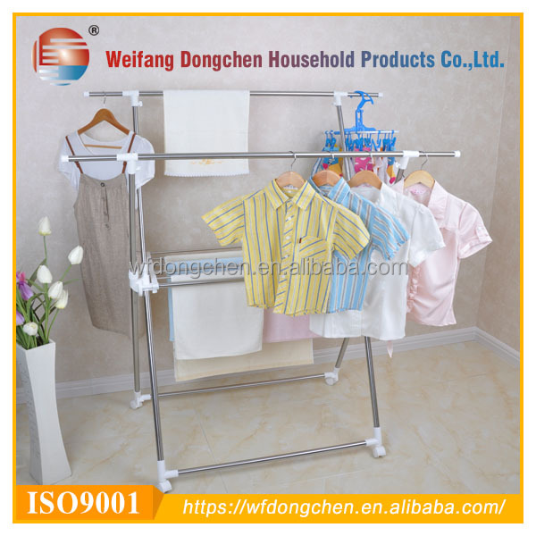 household hanging double pole laundry drying rack