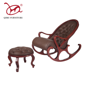 2017 high quality relaxing comfortable wood rocking chair with footstool