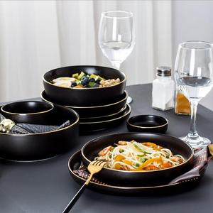 Top choice creative nordic fine black tracing gold porcelain dinner tableware set