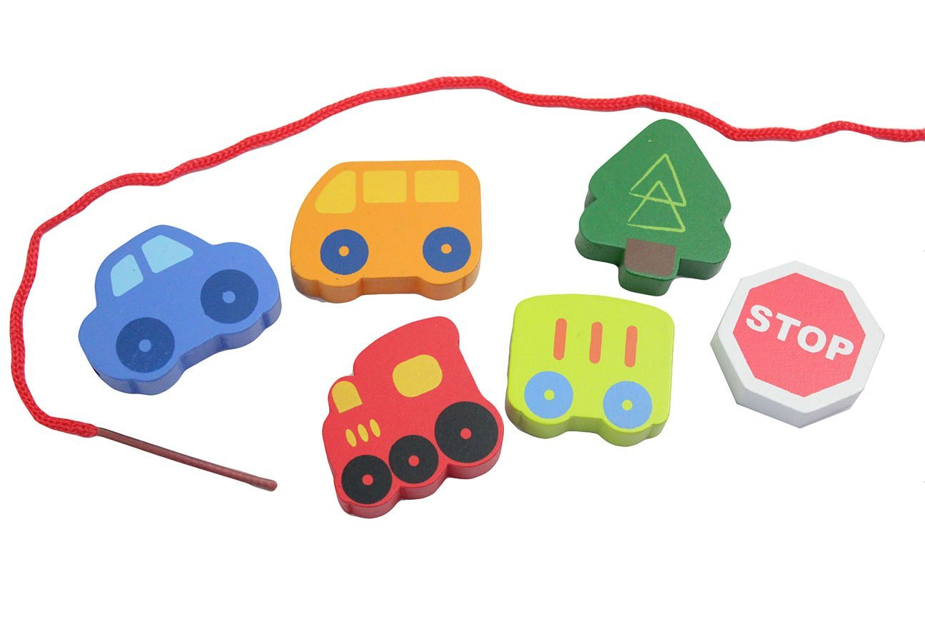 Jumbo Beginner Train Transportation Wood Beads Toy - Toddler Lacing, First Lacing, OT, Jumbo Large Beads, Montessori, Natural, Waldorf