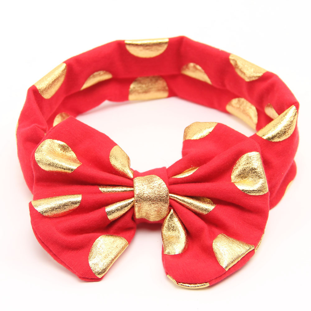 Gold Baby Headband Messy Bow Baby Head Wraps Big Bow Baby